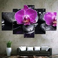 キャンバス上の壁のアートプリントキャンバスに紫色の花の絵画フローラ壁画画像木造植物写真ホームホテルオフィススタディデコレーションインナーフレーム5panels