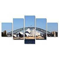 LJFYXZ 壁飾りアートパネル HDインクジェット印刷 リビングルームベッドルームダイニングルーム 現代の家の装飾画 シドニーオペラハウス アート写真 キャンバスプリント 5点セット (Color : With a frame, Size : 25x50cm)