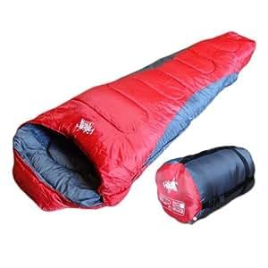 【商品名:White Seek-5℃】【White Seek マミー型寝袋 耐寒温度-5℃】コンパクト収納 持ち運び簡単 オールシンズン (レッド)