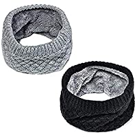 Lo Shokim Harsh Winter Double-Layer Soft Fleece Lined Thick Knit Neck Warmer Circle Scarf Windproof 2 Pack Black & Grey