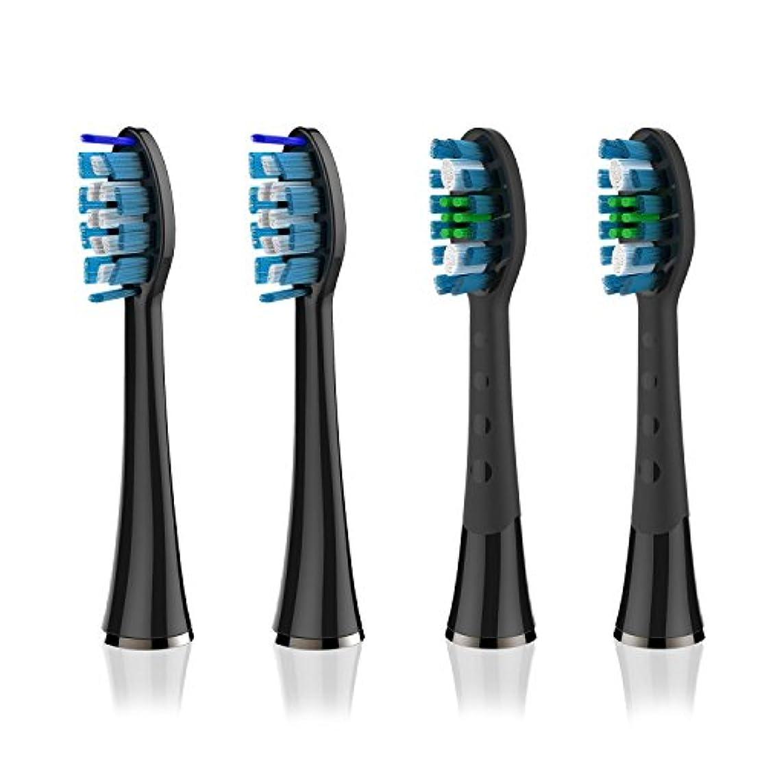 租界パウダー拳Soincool 電動歯ブラシ用 替えブラシ 2*ディープクリーング 2*舌ブラシ 4本組 黒 (ブラック-4)