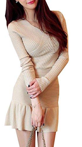 COCO&YUKA レディース セクシー 胸 カシュクール ミニ ワンピース 長袖 タイト Vネック ニット フリル かわいい オシャレ sexy dress mini bodycon (アイボリー)