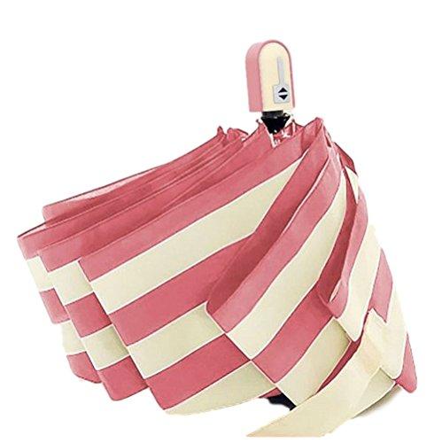 傘レディースおりたたみ自動開閉ジャンプ式日傘晴雨兼用軽量ストライプ丈夫8本骨お洒落カバー付き収納ピンク色カラーブランド(ピンク)