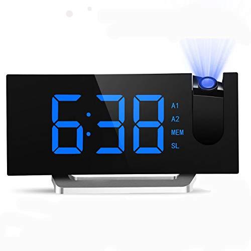 デジタル時計 目覚まし時計 天井投影 大型LED FMラジオ 電源式 ダブルアラーム 三段輝度調節 Mpow 置き時計 卓上時計 大音量 おしゃれ 携帯充電可能 メタル台座 部屋/オフィス/台所用 18ヶ月保証付き [改良版] 76-108MHz 高画質ディスプレイ 15個プリセットメモリー シルバー