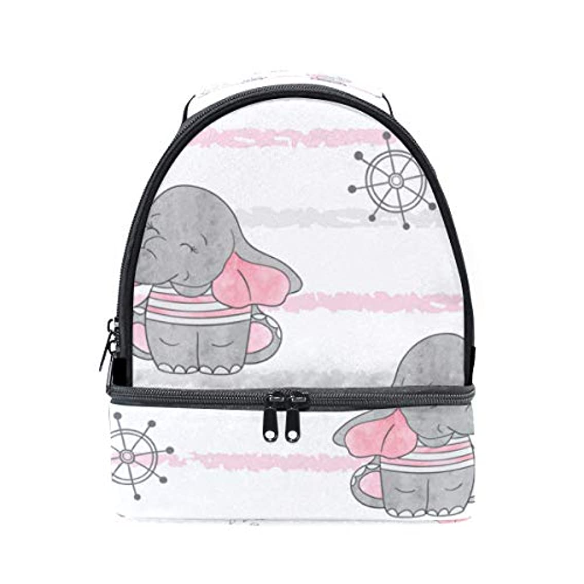 イタリックボススリム旅人 ランチバッグ ダブルデザイン 手提げ 弁当袋 象柄 可愛い 冷蔵ボックス キャンプ用品 保冷 保温 学生 通勤族用