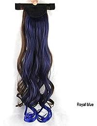 009 Shrapnel Ponytail WigミックスカラーCurly Hair Ponytail Wig女の子のためのヨーロッパとアメリカの甘いポニーテール (Color : Royal blue)