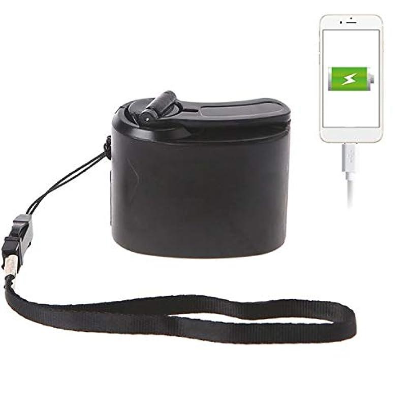 リラックスしたカーペットあなたのもの屋外 USB充電 充電器 緊急 携帯用 ハンド電源ダイナモハンドクランク (色 : ブラック)