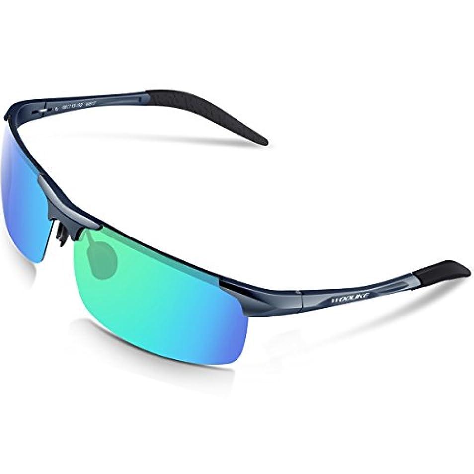 ラテンおばさん安全なWOOLIKE 偏光レンズ スポーツサングラス 超軽量 メンズレディース UV400 紫外線カット アルミ-マグネシウム合金 サングラス 自転車/釣り/野球/テニス/スキー/ランニング/ゴルフ/夜間ドライブ 偏向サングラス W-817