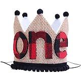 1歳の誕生日 ランバージャック王冠 - バッファロー格子縞 黄麻布 1歳の誕生日 王冠 - ランバージャック パーティー サプライズ - Wild One ランバージャック パーティーハット 1st Birthday Lumberjack Crown