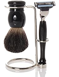 Shaving set with holder, grey badger brush, razor - Hans Baier Exclusive