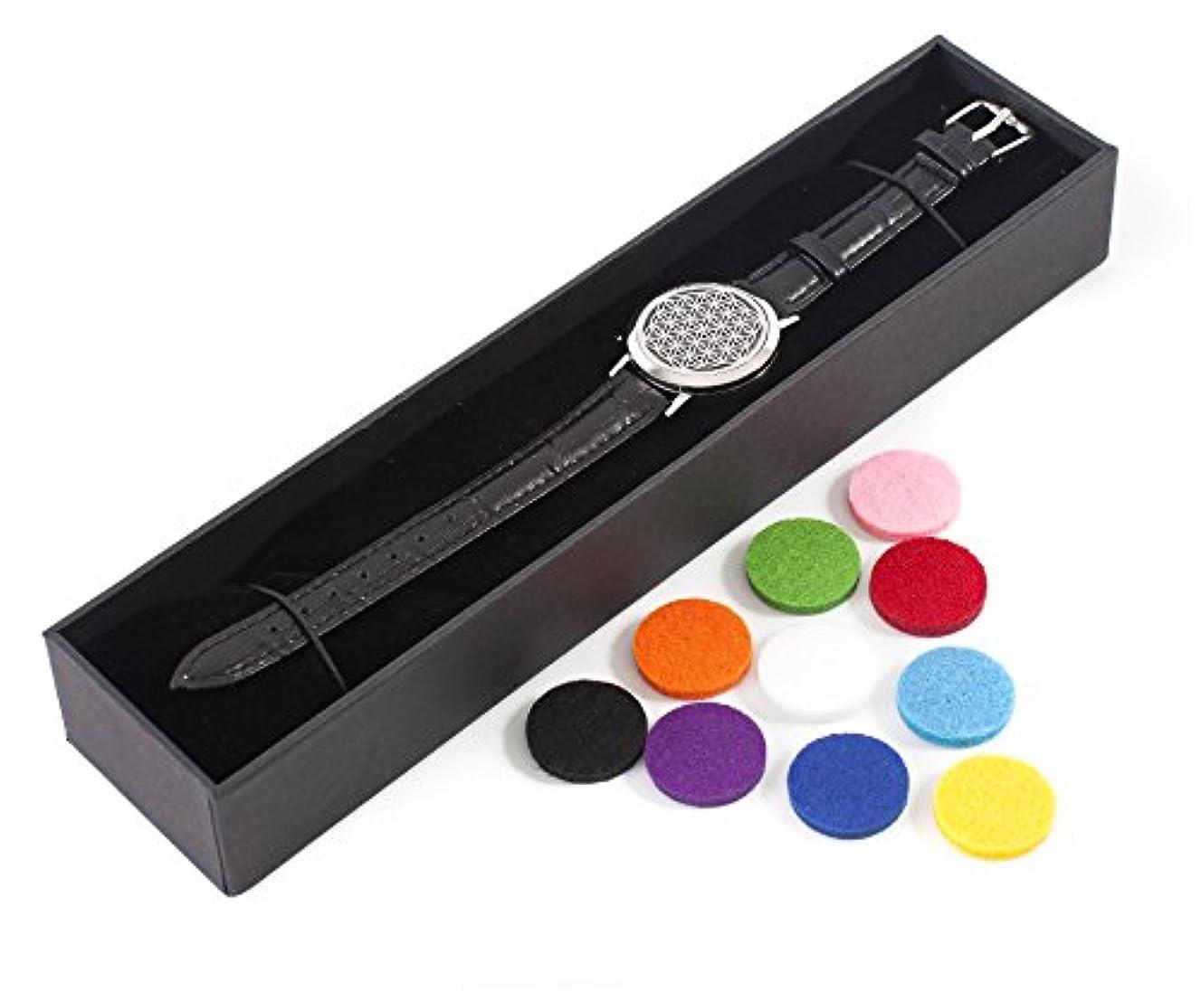 教育者ロードハウス接ぎ木Mystic Moments | Flower of Life | Aromatherapy Oil Diffuser Bracelet with Adjustable Black Leather Strap