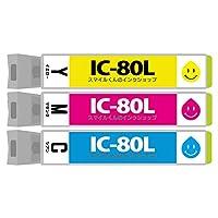 EP社用 IC80Lシリーズ シアン+マゼンタ+イエロー 互換インクカートリッジ【増量】【ICチップ付(残量表示機能付)】