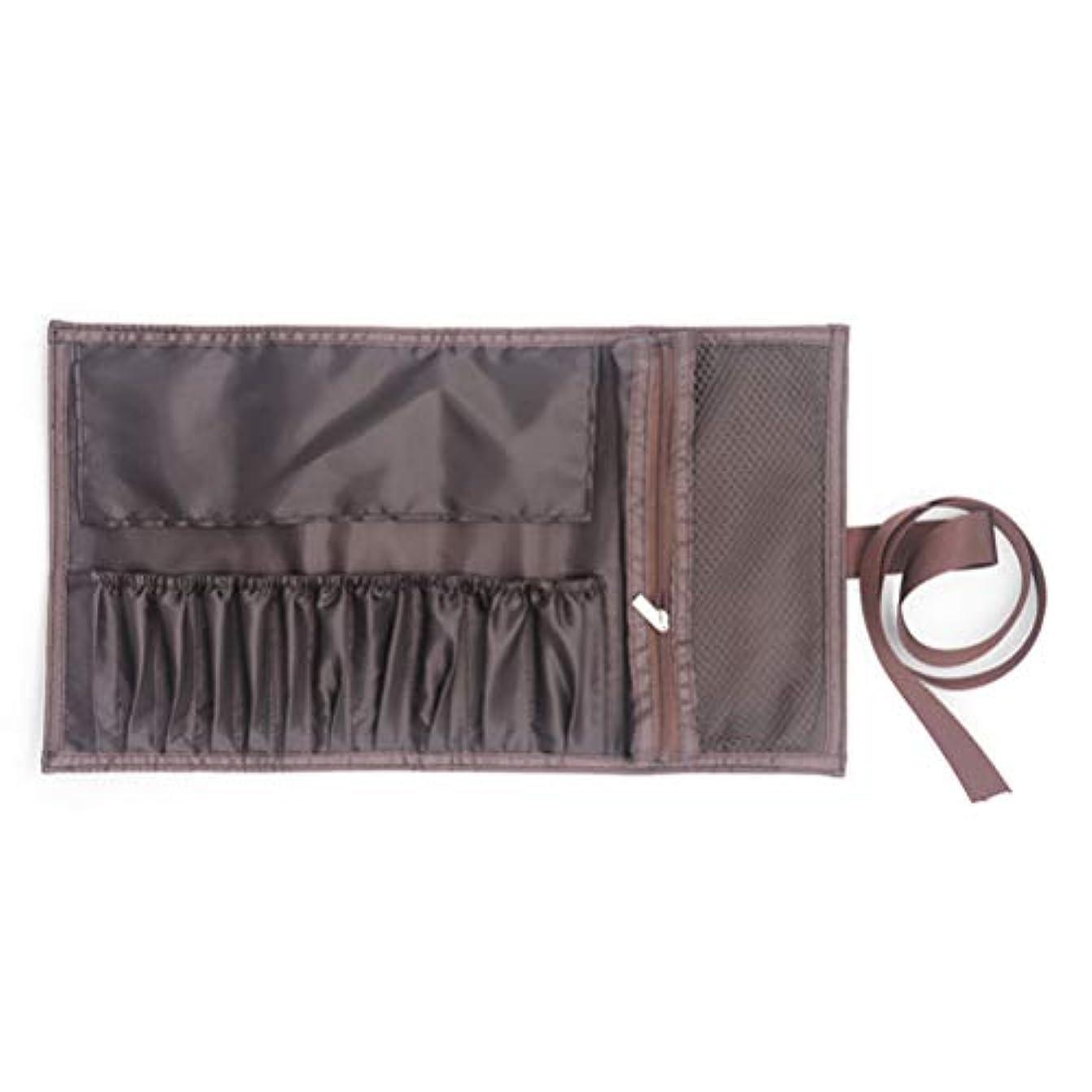 安全考えたタイトFrcolor メイクブラシポーチ 化粧筆ケース 化粧ポーチ 巻き型 PU 大容量 ペンケース コスメポーチ 化粧ブラシポーチ 11本収納 ブラウン