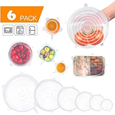 Bowl Covers Stretch Lids Set of 6 Silicone Food Saver Wraps-Bpa Free, Dishwasher, Microwave, Oven and Freezer Safe