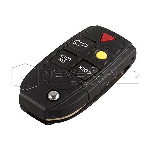 交換シェル折りたたみフリップスマートキーレスエントリーリモートキーケースfob 5ボタン用ボルボs80 s60 v70 xc70 xc90 d05