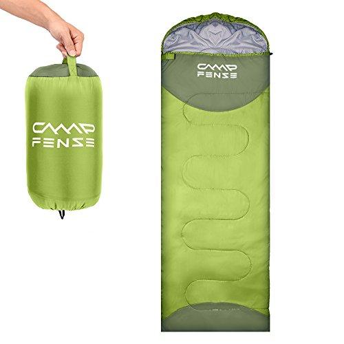 CampFENSE 寝袋 シュラフ 封筒型 コンパクト 防水 軽量 丸洗い可能 車中泊 キャンプ 登山 防災用 アウトドア 収納袋付き (薄绿)
