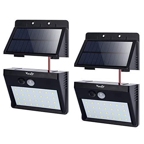 ソーラーライト Vorally 明るい 人感センサーライト 白光 パネル分離可能 2.5mケーブル付き 3つ点灯モード 夜間自動点灯 防犯・防災 室内・屋外照明 (2個セット)