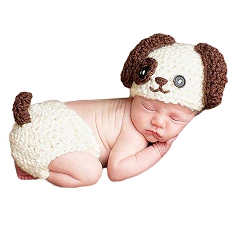 純粋な肺華氏J-LAVIE ベビー 寝相アート 干支 犬 戌 赤ちゃん コスチューム ニット 帽子 パンツ セット 出産祝い 記念写真 年賀状に最適 (ホワイト)