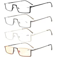 Eyekepper 4-Pack Quality Spring Hinges Half-Rim Reading Glasses Include Computer Readers +1.0