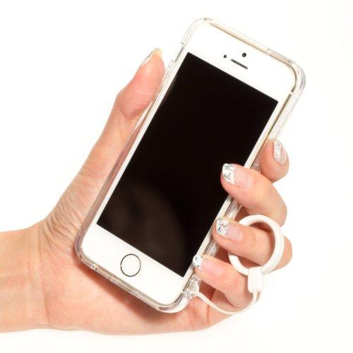 Highend berry 【 iPhone 5 / 5s 】 2014年 モデル ストラップ ホール 保護キャップ 一体型 ソフト TPU ケース クリア リング フィンガー ストラップ 白 付き