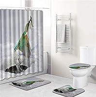 厚いバスルームセット - バスルームカーテンバスルームマットセットトイレセット16 - 鳥シリーズ - 8809