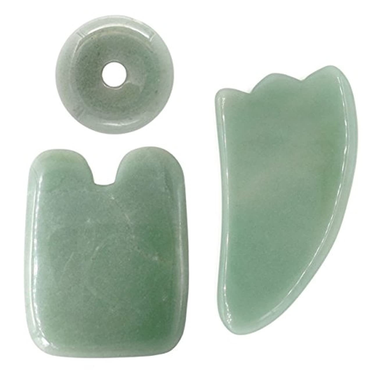 グレートオーク急流議題3点セット3pcsFace / Body Massage Natural Jade Boardかっさプレート 天然石 翡翠(顔?ボディのリンパマッサージ)