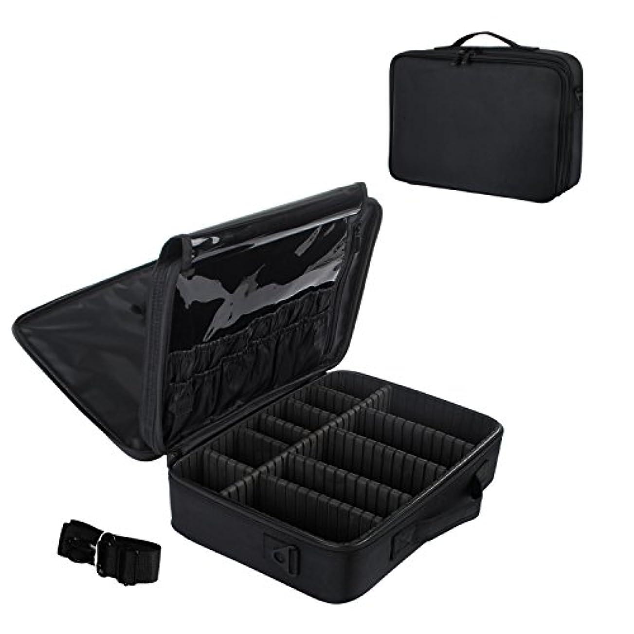 工夫するタイトましいメイクボックス プロ用 コスメボックス 大容量 軽量 メイク道具 化粧品収納 小物入れ 持ち運び 3way 収納ケース 調整仕切り板 2色選び (ブラック)