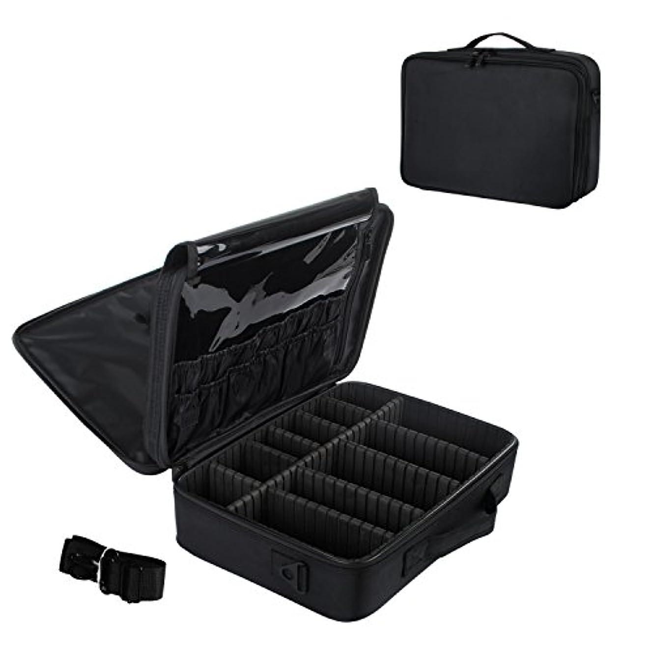 リベラル兵士布メイクボックス プロ用 コスメボックス 大容量 軽量 メイク道具 化粧品収納 小物入れ 持ち運び 3way 収納ケース 調整仕切り板 2色選び (ブラック)