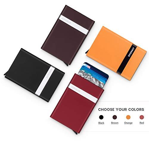 LunGear RFIDブロッキングクレジットカードケースポップアップデザイン、金属製のクレジットカードホルダープロテクターは7枚のカードを保持、女性と男性のためのファッションミニマリストのアルミニウ