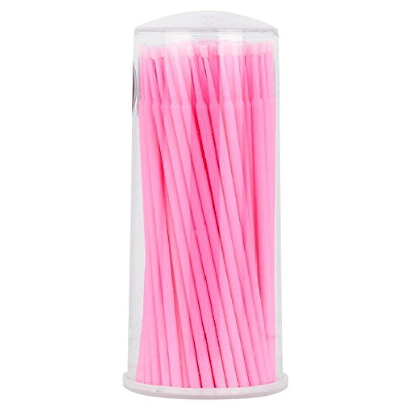 政治エネルギー扇動Perfk まつげ 約100個入り マイクロブラシ ゲル/グルー/クリームー 使い捨て アプリケータ - ピンク