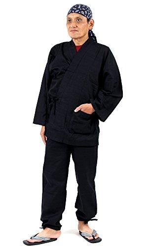 作務衣 メンズ 無地 作業着 通年(ブラック/Mサイズ)