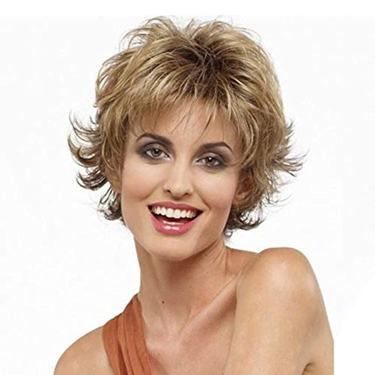 権限を与えるピカソ割るWASAIO 女性のショートカーリーウィッグブロンドの髪ショートボブウィッグ (色 : Blonde)
