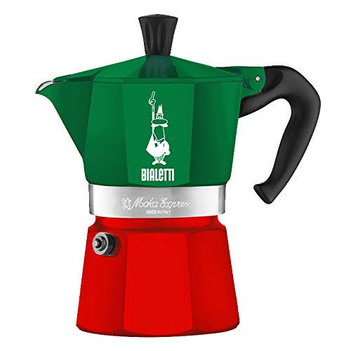 (6 cups, Green/Red) - Bialetti 5322 Moka Express Espresso Maker, Green/Red