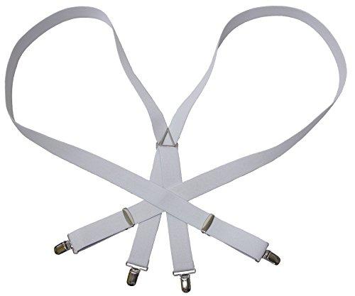 大きいサイズ 150cm調節可能 サスペンダー無地 日本製 ホワイト