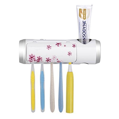 Ovonni 歯ブラシ除菌器 壁掛け式 家族用5本 UV除菌機 USB 充電 紫外線消毒 歯ブラシケース 一台多役 歯ブラシホルダー 自動タイマー 自動電源オフ機能 超静音 電動歯ブラシにも対応