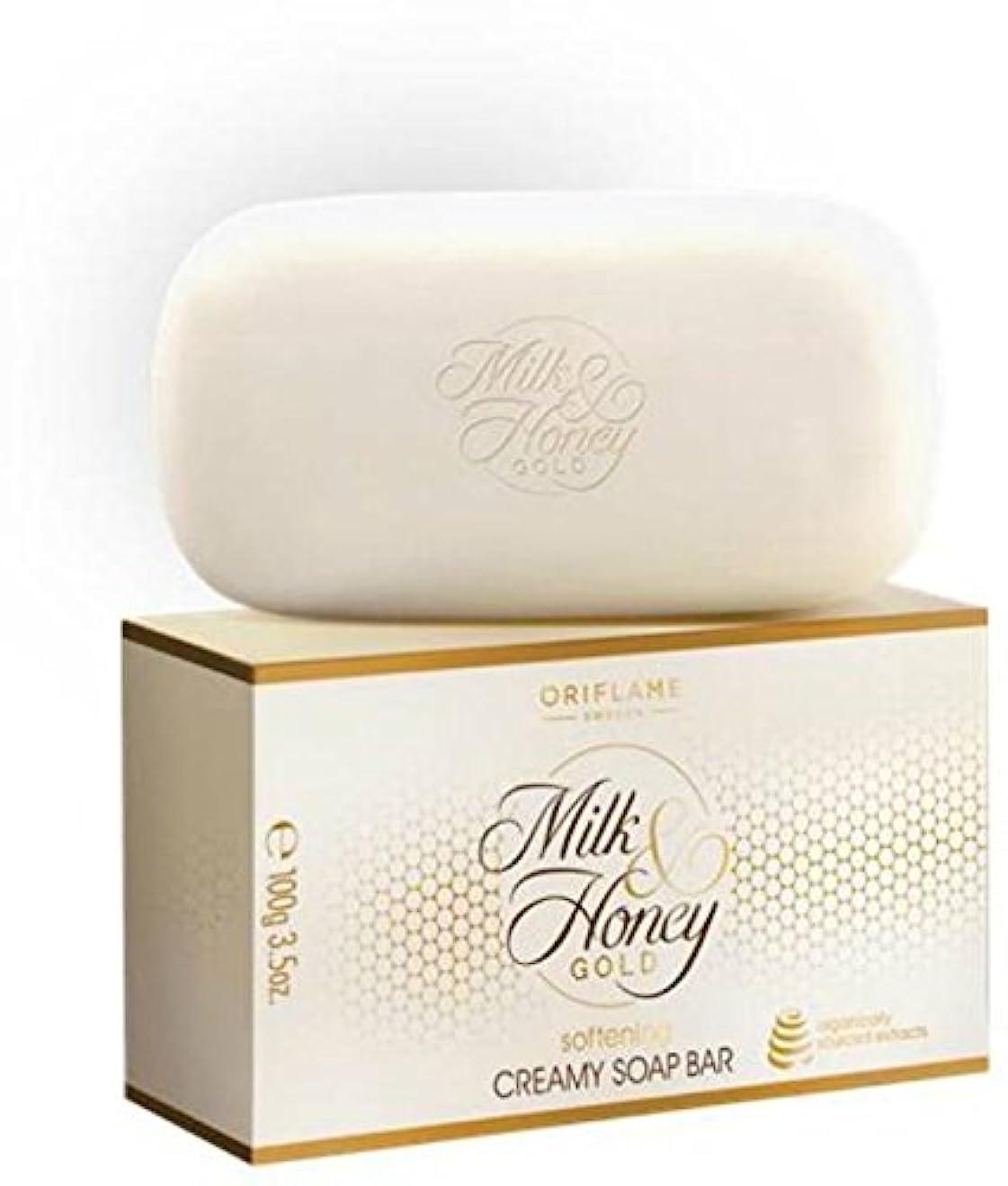 純度長いですフェッチスウェーデンOriflame Milk & HoneyゴールドソフトニングCreamy Soapバー(パックof 4 ) 400 g ( 400 g )