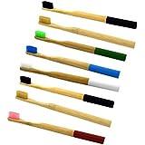 Healifty 8本 竹炭の歯ブラシ 竹の歯ブラシ 分解性 環境保護の歯ブラシ 天然の柔らかいブラシ 混合色 4本入
