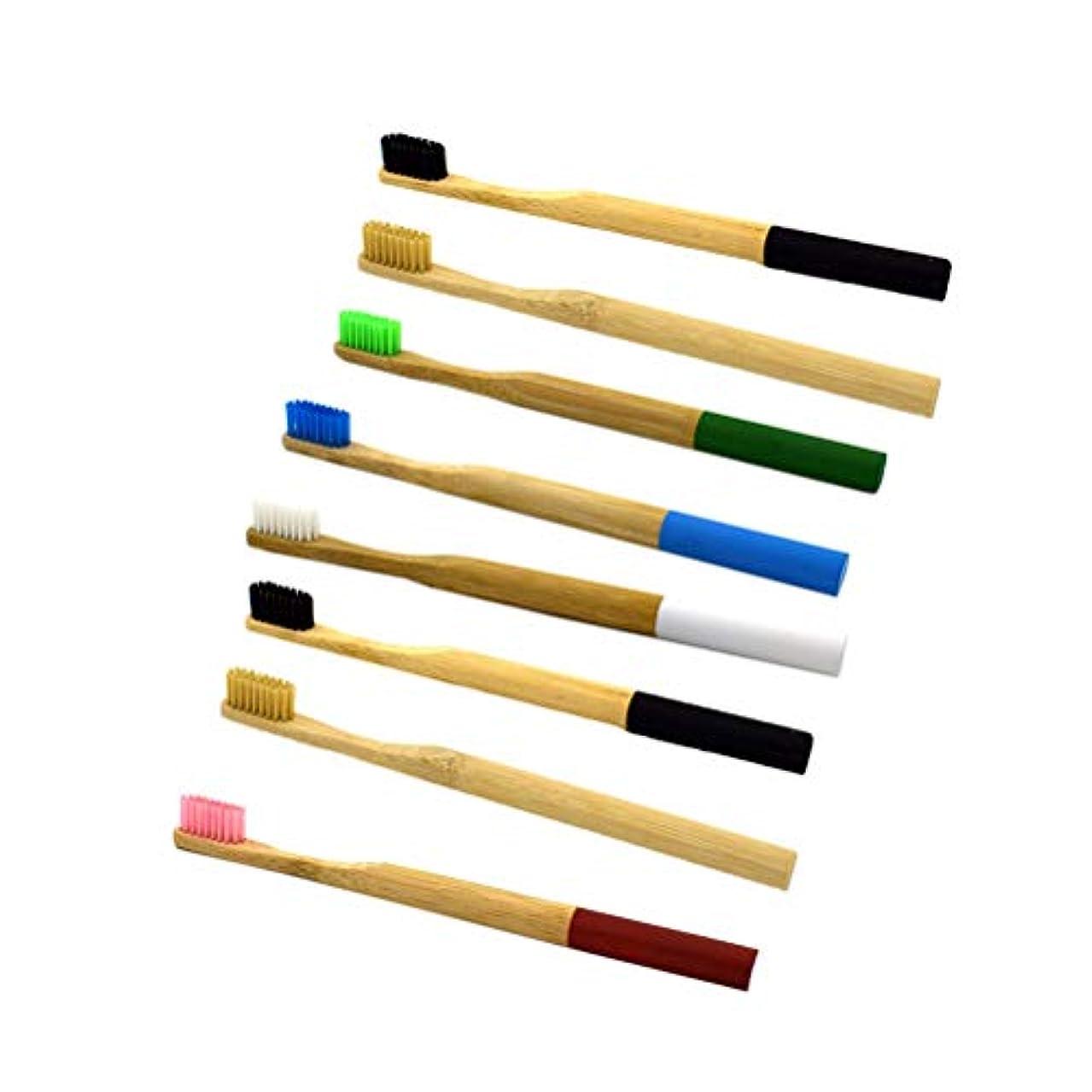 Healifty 柔らかい環境に優しい歯ブラシ8本の天然竹製の歯ブラシ柔らかいエコフレンドリーなラウンドハンドルの歯ブラシと柔らかいナイロン剛毛(混合色)