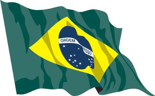 ステッカー‐自動車用ステッカー フラグ A-LS27 Brazil - ブラジル 15 cm 車やリアウィンドウのために