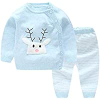 LOSORN ZPY 2Pcs Baby Girl Knitting Cardigan Cotton Sweater and Crochet Pant Spring Autumn