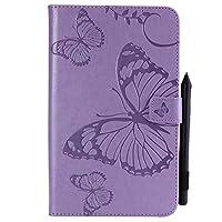 蝶の花の花柄フリップPUレザーウォレットスタンドタブレットケースサムスンギャラクシータブA 8.0インチSM-T380 / T385(2017リリース) L&Y (色 : 紫の)