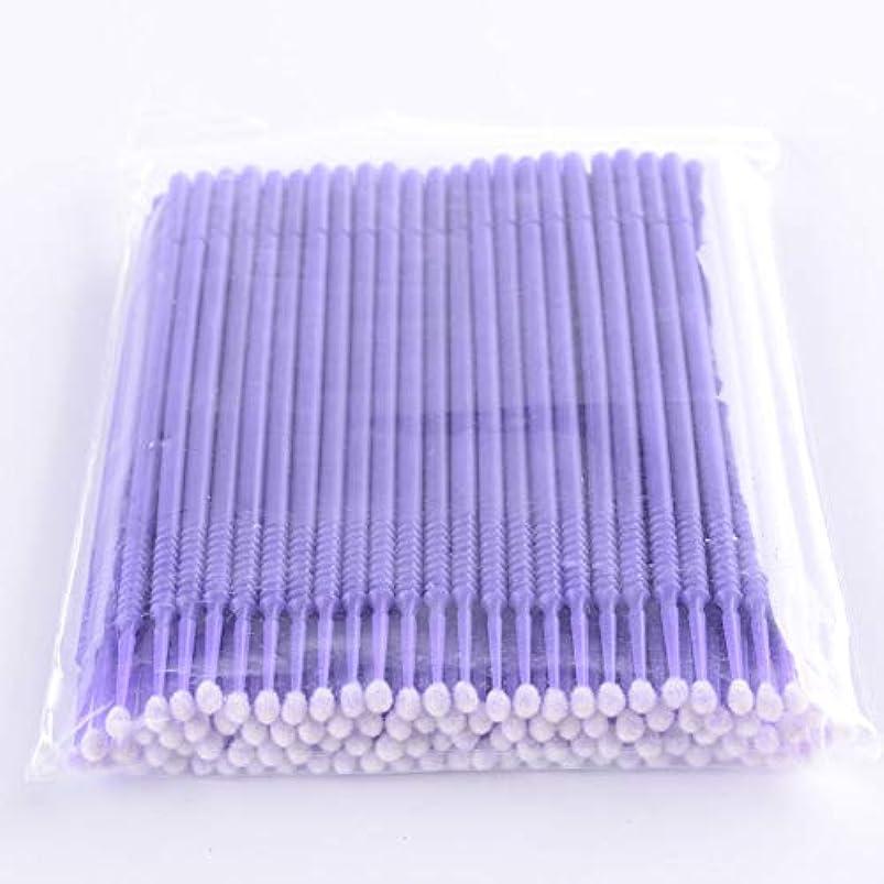 畝間不健全安心させるPLATINA LASH マイクロスティック 100本入り マイクロブラシ 使い捨て極細綿棒アプリケーター まつげエクステ用 (Regular/Purple)