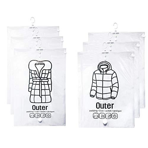 Wizlore 圧縮袋 吊るせる 衣類圧縮袋 衣類用 洋服カバー 手動ポンプ付 M/Lサイズ 6枚セット