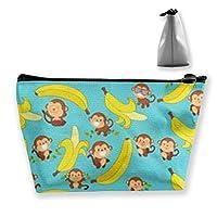 かわいい猿とバナナ 収納ポーチ 化粧ポーチ トラベルポーチ 小物入れ 小財布 防水 大容量 旅行 おしゃれ