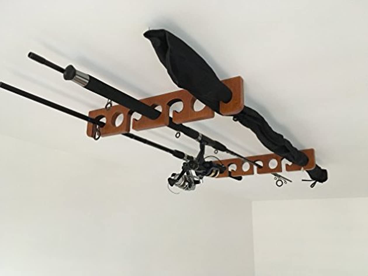 木製施し麻酔薬木製の釣りロッドラック - 天井マウント