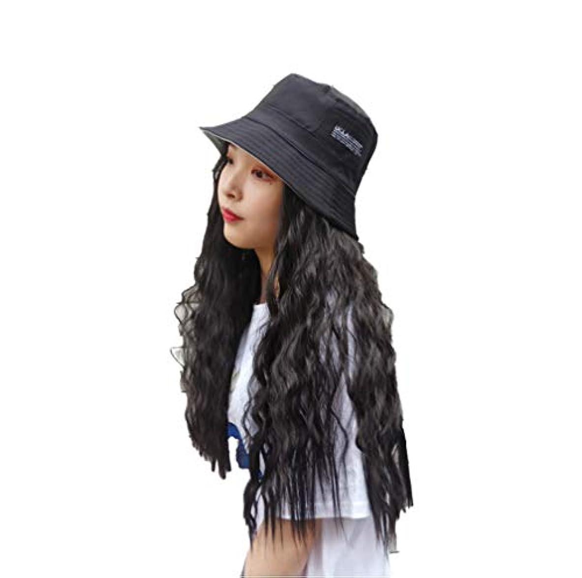 申し立てられたサイズ絵女性野球キャップヘアエクステンションコーンウェーブヘアエクステンション付きブラックハット付き天然人工毛日常用65cm
