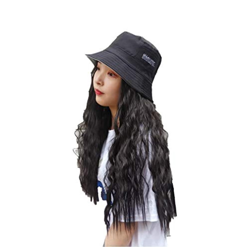 ハング誓う織る女性野球キャップヘアエクステンションコーンウェーブヘアエクステンション付きブラックハット付き天然人工毛日常用65cm