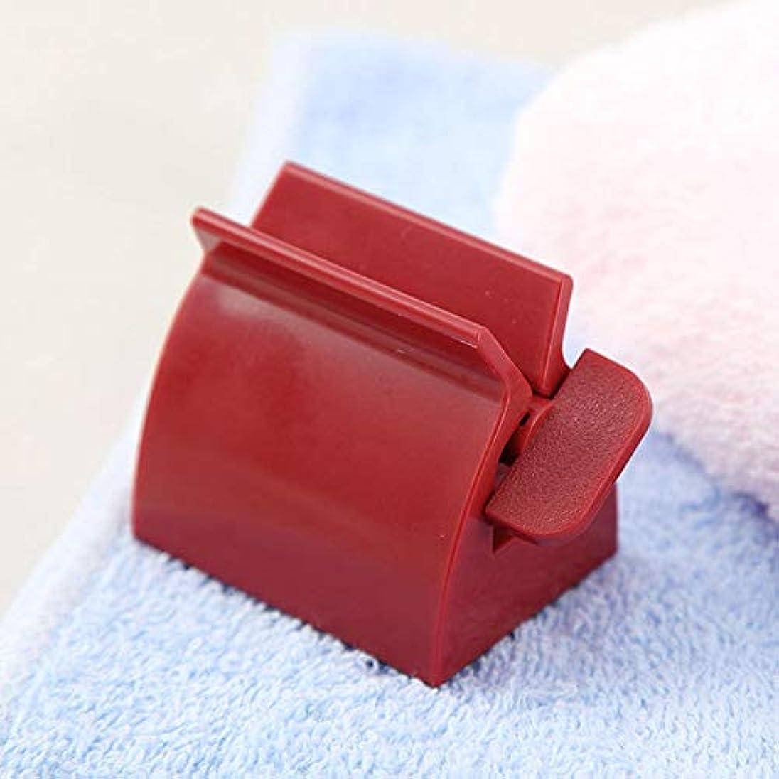 SODAOA屋 手動歯磨き粉スクイーザ 歯磨き粉 ホルダー バスルーム洗顔料 化粧品 クリーム ハンドクリーム 節約 ローリングチューブスクイーザー便利 練り歯磨きスクイーザー 多機能 (レッド)
