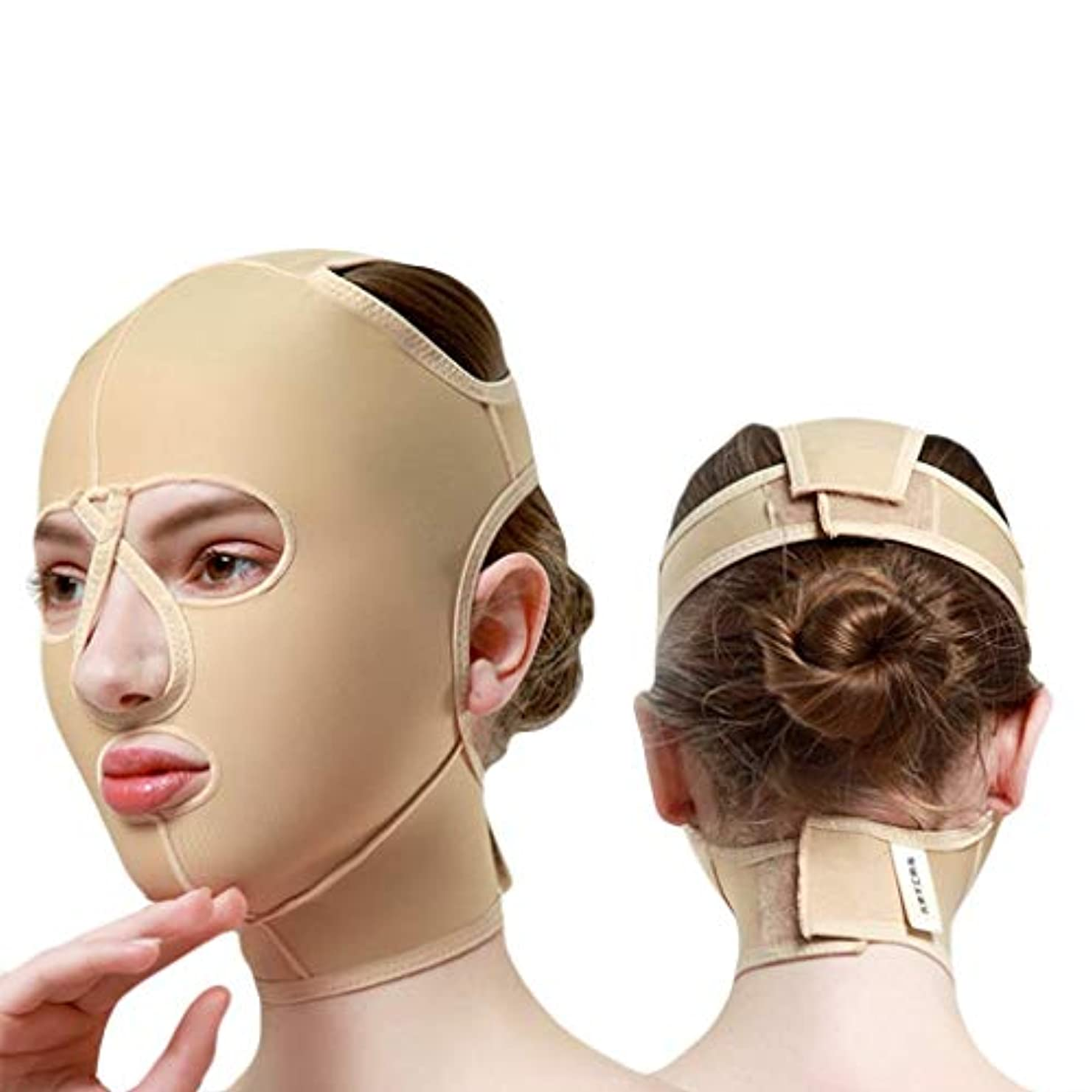 汚す協定減らすチンストラップ、顔彫りツール、リフティングマスク、ダブルチンリデューサー、フェイスリフティングエラスティックマスクメス(サイズ:M),L