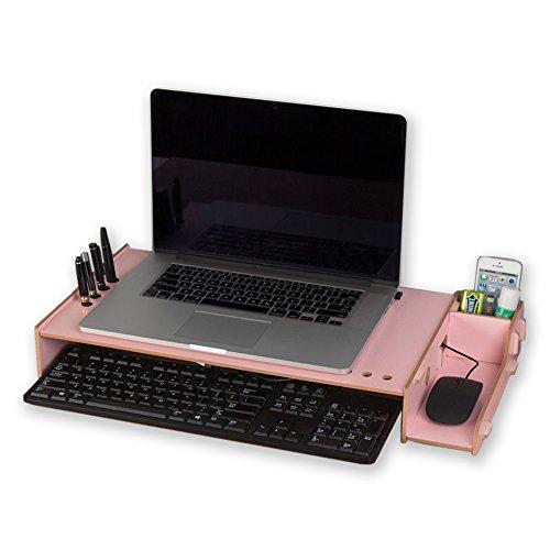 INANA 机上台 コンピューター ノートパソコン ディスプレーを高まるラック モニターラック 机上収納 高さが7CMを追加可能 猫背を防ぐ 発色が超綺麗 (ピンク)